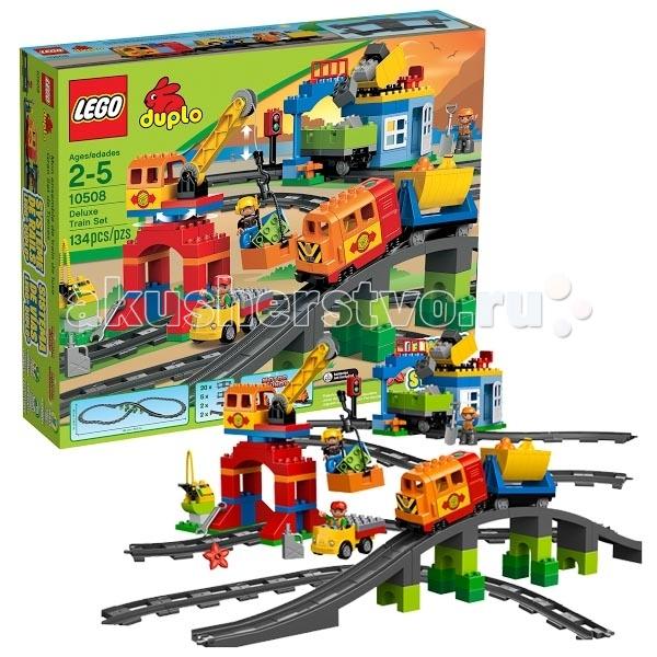 Конструктор Lego Duplo 10508 Лего Дупло Большой поездDuplo 10508 Лего Дупло Большой поездКонструктор Lego Duplo 10508 Лего Дупло Большой поезд состоит из 134 деталей, включая аксессуары и 3 минифигурки.  Перейдите на следующий уровень строительства железной дороги с набором «Большой поезд» из серии LEGO® DUPLO®.  Нажми на кнопочку и отправь в путь суперсовременный локомотив с настоящим звуковым сигналом, загрузи вагоны камнями из карьера и разгрузи в пункте назначения с помощью крана!  Не забудь заправиться по дороге – ведь общая протяженность рельс более 162 см, а по пути поезд ждет высокий мост с тоннелем!  В набор входит: большой поезд с вагонами каменный карьер из кубиков DUPLO® большое здание с работающим подъемным краном небольшую заправочную станцию 3 минифигурки рабочих грузовик высокий мост с тоннелем множество дополнительных аксессуаров инструкция по сборке. Особенности конструктора Lego Duplo 10508: Железная дорога общей протяженностью 162 см Поезд начинает ехать при нажатии на кнопку Локомотив издает звуковые сигналы У крана работающая лебедка, груз цепляется специальными «усиками».  Количество деталей: 134 шт.  Для работы локомотива требуется 3 батарейки 1,5V 2R6 (AA) – не входят в комплект.<br>