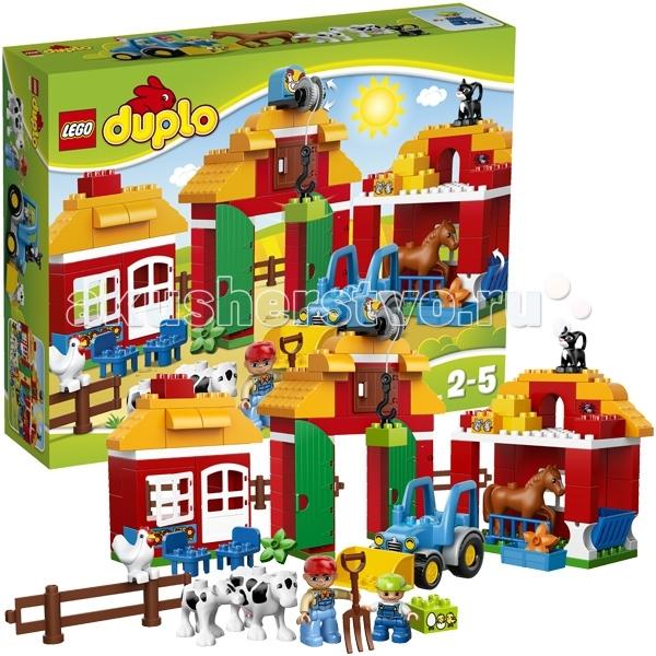 Конструктор Lego Duplo 10525 Лего Дупло Большая фермаDuplo 10525 Лего Дупло Большая фермаКонструктор Lego Duplo 10525 Лего Дупло Большая ферма собирается из 121 детали.  Построй свою собственную ферму со всем необходимым!   Расположи загон для животных, амбар для хранения зерна, отправь трактор на работу в поле, перемещай грузы с помощью работающей лебедки на воротах!   В набор входят и фермеры – в комплект включены 2 мини фигурки LEGO® DUPLO®, взрослый и ребенок.  В набор входит: животные: 2 коровы, лошадка, кот и курица большой фермерский дом со столом и стульями специальный загон для лошади забор вокруг лужайки ворота с работающей лебедкой трактор, в который можно посадить минифигурку инструкция по сборке. Количество деталей: 121 шт.<br>
