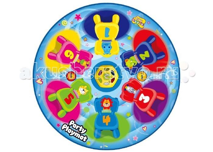 Игровой коврик Ami&amp;Co (AmiCo) Вечеринка для друзей 20608Вечеринка для друзей 20608Коврик музыкальный Вечеринка для друзей.  Музыкальный коврик Amico – это увлекательная игрушка для подвижных игр.  Она способствуют всестороннему развитию ребенка, сочетая в себе элементы игры, танца и спорта.   Коврики реагируют на прикосновения и содержат несколько интерактивных игр, сопровождающихся веселой музыкой и звуками.   Веселая подвижная игра, в которой побеждает самый ловкий и быстрый.  С таким ковриком любая развлекательная программа или вечеринка станет забавнее, веселее и интереснее!   Игроки бегают вокруг коврика ,пока звучит музыка, и должны наступить на загорающиеся огоньки, как только она закончится.  Каждый раз загорается на один огонек меньше пока не останется только один.  2 режимов игры, 6 мигающих огоньков, автоматическое отключение.  Размер коврика: 120 x 120 см<br>