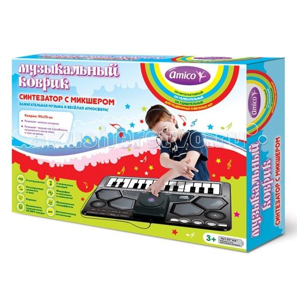 Игровой коврик Ami&amp;Co (AmiCo) Синтезатор с микшером 20598Синтезатор с микшером 20598Коврик музыкальный Синтезатор с микшером.  Музыкальный коврик Amico – это увлекательная игрушка для подвижных игр.  Она способствуют всестороннему развитию ребенка, сочетая в себе элементы игры, танца и спорта.   Коврики реагируют на прикосновения и содержат несколько интерактивных игр, сопровождающихся веселой музыкой и звуками.   Почувствуй себя настоящим ди-джеем!  Нажимай на клавиши и создавай дополнительные звуковые эффекты, которые накладываются на основную мелодию.  Возможно добавить звучание восьми различных инструментов и звуковых эффектов, а подключив к коврику CD/MP3 плеер и микрофон можно менять свои любимые мелодии.   8 инструментов, регулируемая громкость и темп, караоке, возможность подключения CD/MP3 плеера, музыкальные спецэффекты, микрофон и наушники в комплекте, автоматическое отключение.  Размер коврика: 90 x 70 см<br>