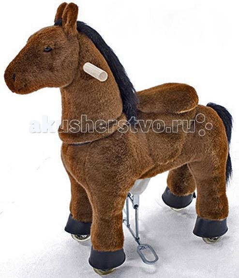 Каталка Ponycycle Коричневая лошадка 4121Коричневая лошадка 4121Каталка Ponycycle Коричневая лошадка 4121 - уникальная игрушка, которая позволяет малышу ощутить себя настоящим наездником.  Лошадка полностью механическая, она не требует ни батареек, ни аккумуляторов. Для того, чтобы лошадка поехала, нужно сесть в седло, а затем садиться и привставать, опираясь на педали-стремена.   Чем активнее малыш будет садиться и привставать в седле, тем быстрее поскачет лошадка.  Лошадка может ехать не только прямо. Она может совершать плавные повороты. За ушами лошадки есть деревянные рукоятки-держатели, малыш поворачивает их как руль велосипеда, и лошадка движется направо или налево, может совершить разворот.  Назад лошадка не едет, чтобы иметь возможность взбираться в горку и не откатываться (стопором служит стальной хомут, который не дает колесу прокручиваться назад).  Мягкая плюшевая шерсть, роскошная грива, удобные рукоятки и седло приведут в восторг Вашего малыша.  Поницикл является не только великолепным развлечением, но и прекрасным тренажером. Катание на лошадке - это не только весело, но и очень полезно для физического развития ребенка,она укрепляет мышцы и улучшает осанку.  Важно: Лошадка рассчитана только на движение вперед и плавные повороты, назад она не двигается.  Не оставляйте детей без присмотра во время игры с лошадкой ПОНИЦИКЛ.  Мех у лошадки съемный, при необходимости вы можете его почистить любыми безопасными для детей средствами для чистки искусственного меха. Не забудьте расчесать Вашу лошадку после чистки.  Придерживайте ребенка при необходимости.  Избегайте попадания рук или каких-либо предметов между корпусом лошадки и седлом, во избежание травм и поломки лошадки.   Особенности: на возраст 4-10 лет максимальная нагрузка - 40 кг высота в холке 91 см высота посадки 66 см расстояние от седла до педалей - 45 см.<br>