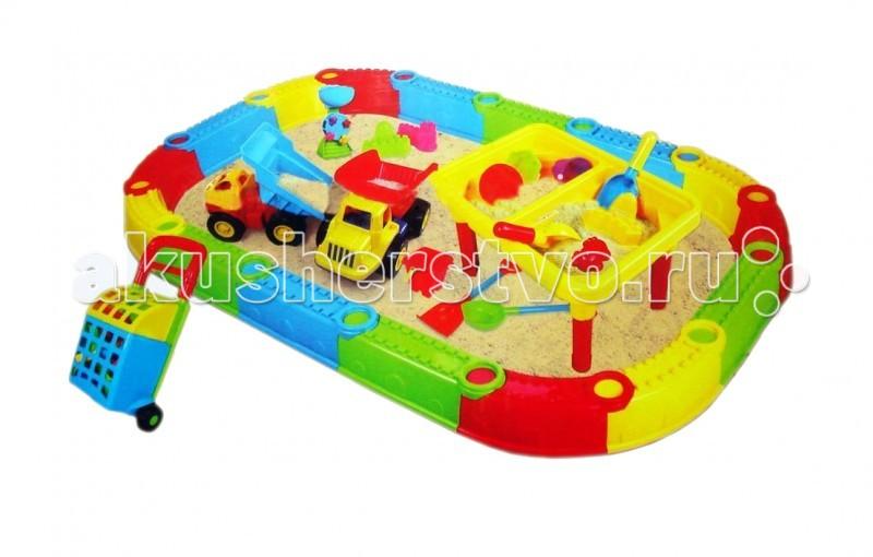 Игралия Песочница Большая + стол-песочница Веселый Пляж QQ-434Песочница Большая + стол-песочница Веселый Пляж QQ-434Песочница Большая + стол-песочница с машинками Веселый Пляж QQ-434  Ваш малыш будет увлечен игрой как дома и на даче, так и на берегу моря или реки. Столик имеет крышку, благодаря которой вы можете использовать его и как просто стол для рисования. Песочница-ограждение «Веселый пляж» создаст отдельное место для игры вашего ребенка и его друзей,бортики имеют плоскую поверхность для удобной лепки,а набор предметов в виде формочек, совочков, лейки, водяной мельницы поможет вашему малышу создать фигурки и куличи из песка. Дополнительные предметы в данном комплекте: 2 Машинки-грузовика, детская тележка с формочками, лопатки и грабли разных размеров даст возможность вашему ребенку разнообразить игру с песком, а также привлечь своих друзей для совместных игр. Набор изготовлен из пластика, легок в сборке, безопасен для детских игр, удобен при перевозке, яркая коробка-упаковка послужит вам в качестве прекрасного подарка для детей ваших друзей.  В комплект входит:  песочница разборная 16 секций столик с 2-мя секциями: 4 ножки, крышка для стола 2 шт. машины-грузовика 1 шт. хозяйственная тележка 18 Предметов для игр: 2 лейки 2 маленьких формочки-ведерки 2 больших ведра 2 совка + грабли маленькие 2 совка + грабли средние 1 лопата +1 грабли большие 1 водяная мельница 2 формочки 3 башни-формочки.  Размер в собранном виде: песочница - 210 х 116 см столик - высота 28 см х длина 45 см х ширина 30,5 см   Материал: ABS-пластик<br>