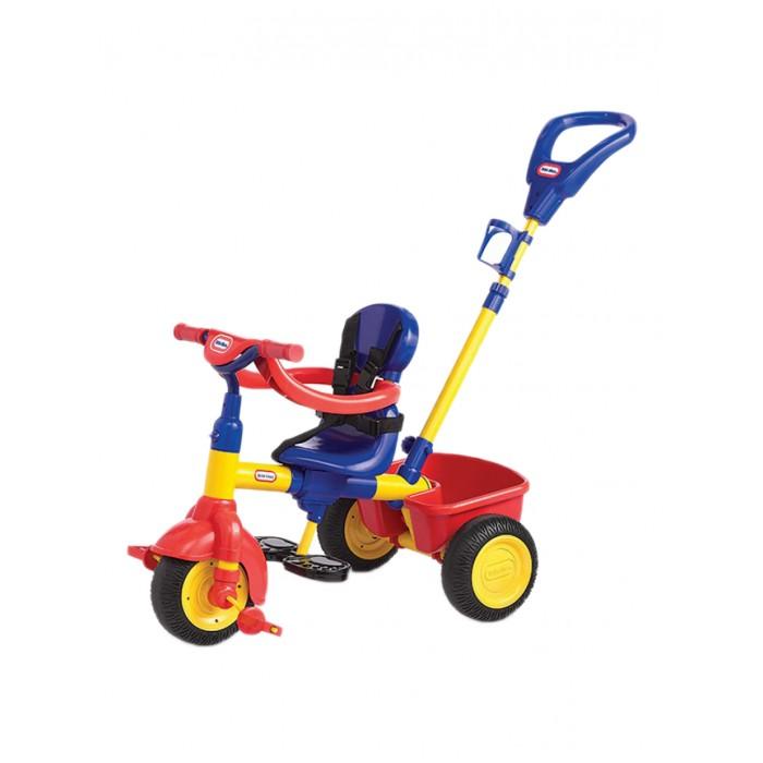 Велосипед трехколесный Little Tikes 3 в 1 6273543 в 1 627354Велосипед 3 в 1 для самых маленьких – подойдет детям от 9 до 36 месяцев.  По мере взросления ребенка, можно менять конструкцию велосипеда.  Сиденье закрепляется на раме в трех положениях, съемные ремни безопасности с ограничителем и специальная подставка для малышей, которые еще не дотягиваются до педалей. Также, сзади есть специальная ручка, с помощью которой родители могут везти велосипед.  Когда ребенок подрастёт достаточно, чтобы самостоятельно ездить на трехколесном велосипеде, можно снять блокировку руля, убрать подставку и ручку сзади. Сзади также крепится специальный тент от дождя. Трехколесный велосипед Little Tikes очень прочный и обладает всем необходимым!  Конструкция меняется по мере взросления ребенка Толстая прочная рама Сиденье закрепляется в 3-х положениях Прочная ручка сзади Корзина для вещей сзади Подвижный тент от солнца Ремни безопасности Дополнительный ограничитель для самых маленьких Нескользящие педали и ручки руля Держатель для бутылочки Открепляющаяся спинка Максимальный вес ребенка – 23 кг. Максимально допустимая нагрузка на корзину – 2,3 кг. Размеры велосипеда: 93х48х93 см . Колеса с протектором, изготовлены из PP (полипропилен) и EVA (этиленвинилацетат).<br>