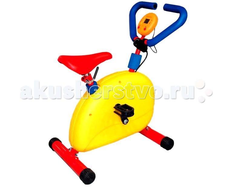 Moove&amp;Fun Велотренажер механический с компьютеромВелотренажер механический с компьютеромВелотренажер Moove&Fun детский механический с компьютером выполнен в оригинальном и ярком дизайне. Идеально подходит для проведения тренировок детей в игровой форме.   Особенности:    Эргономика специально разрабатывалась для детей.   Корпус защищен пластиковым кожухом.   Тренажер с успехом может применяться как дома, так и в любых детских учреждениях, комнатах отдыха.  Позволяет проводить тренировки сердечно-сосудистой и дыхательной систем, способствует развитию выносливости  Обеспечивает максимальный комфорт благодаря эргономичному дизайну сидения, рукояток и педалей.  Оснащен компьютером-счетчиком, являющимся дополнительным стимулом.  Бесступенчатый механический переключатель обеспечивает равномерное сопротивление, делает ход тренажера плавным и бесшумным.  Имеет удобное, регулируемое по высоте сидение.    Длина: 50  Ширина: 39,5  Высота: 68,5  Максимальный вес ребенка, кг: 50<br>