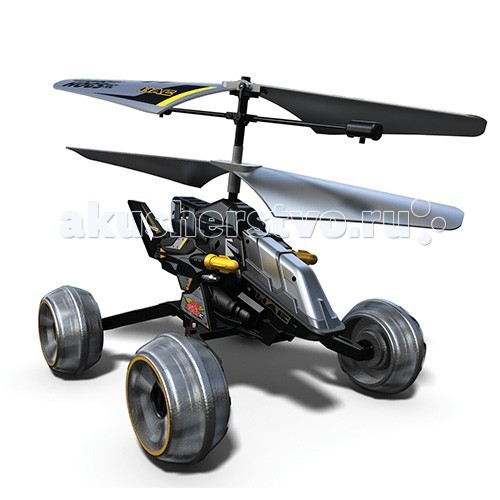 Air Hogs Машина-вертолет 44404Машина-вертолет 44404Уникальный радиоуправляемый гибрид вертолета и машины из серии Airhogs! Благодаря вращению винтов машина-вертолет может двигаться как по земле (вперед, влево, вправо), так и летать как настоящий вертолет!   Вдобавок к этому, модель оснащена боевыми ракетами, которые можно запускать как с земли, так и с воздуха. В наборе также представлены тренировочные мишени.   Старайтесь запускать вертолет в просторном помещении или на улице.  Особенности: ИК-управление 8 ракет и 2 мишени.  Необходимо 6 батареек типа АА (в набор не входят). Время зарядки около 30 минут. Время непрерывной игры (в режиме полета) около 5 минут. Длина игрушки 17 см.  ПРАВИЛА БЕЗОПАСНОСТИ: Не допускайте попадания в зону вращения лопастей рук, волос и деталей одежды. Не держите работающий вертолет в руках во время взлета. Взлетайте только с твердой поверхности.   Выключайте пульт управления/зарядное устройство и вертолет, когда вы им не пользуетесь.  Вынимайте батарейки пульта/зарядного устройства, если не будете играть в течение длительного времени.  Для максимальной производительности рекомендуется устанавливать в пульт/зарядное устройство новые алкалиновые батарейки.   Пульт управления/зарядное устройство оснащен перезаряжаемой литий-полимерной аккумуляторной батареей.   Не используйте его для зарядки других устройств. Если вертолет отключится при столкновении с препятствием, полностью выключите вертолет, потом включите снова.<br>