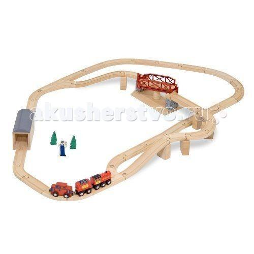Melissa &amp; Doug Набор деревянный с вращающимся мостомНабор деревянный с вращающимся мостомMelissa & Doug Железная дорога Набор деревянный с вращающимся мостом - станет увлекательным подарком для Вашего малыша.   Набор состоит из 45 элементов, в который входят поезд, состоящий из 3-х частей, нисходящие и восходящие рельсы с опорами, крытый мост и, самое интересное, вращающийся мост, у которого есть автоматические открывающиеся и закрывающиеся ворота.  Игрушка выполнена в ярких красках. Ваш ребенок часами будет играть с этой железной дорогой, придумывая различные истории.<br>