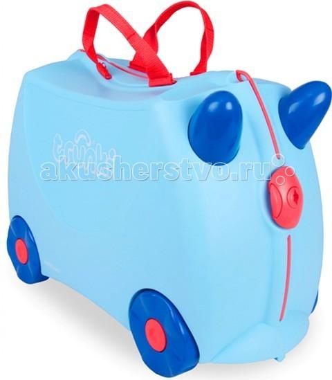 Trunki Чемодан на колесах ДжорджЧемодан на колесах ДжорджДетский чемодан на колесиках Trunki Джордж сделает путешествие ребенка веселым и комфортным. Чемоданы Trunki сделаны из прочного легкого пластика, что позволяет не только брать их с собой в путешествие, но даже кататься на них!  Чемодан Джордж станет прекрасным игровым спутником для малыша. Чемодан выполнен в нежно-голубом цвете. У чемоданчика есть забавные ручки красного цвета в виде рожек, для того, чтобы ребенок мог держаться во время катания.  Удобная прочная ручка из текстиля красного цвета позволяет родителям возить чемодан или катать ребенка. Особенности чемодана Trunki Джордж:     Прочный легкий корпус с удобным сидением,   Широкие устойчивые колеса для перемещения и катания,   Прорезиненный мягкий обод вдоль отделений чемодана,   Надежный безопасный замок защищает от случайного раскрытия,   Специальный ремень с прочными карабинами позволяет легко перемещать чемодан и катать ребенка,   Ручки из пластика на корпусе чемодана позволяют ребенку держаться при перемещении.  Чемоданы Trunki были созданы в Англии для того, чтобы малыши не скучали во время путешествий. В удобный вместительный чемодан можно заполнить необходимыми вещами, книгами и, конечно же, любимыми игрушками. Широкие устойчивые колеса позволяют не только перемещать чемодан, но и даже покататься на нем. Теперь при ожидании при регистрации или ожидании рейса вашему ребенку точно не будет скучно. Вместительность: 18 литров.  Вес чемодана: 1,7 кг. Максимальный вес нагрузки: 45 кг. Все чемоданы Транки позволяют брать их с собой в ручную кладь на борт самолета.<br>