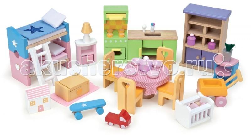 LeToyVan Базовый набор мебелиБазовый набор мебелиLeToyVan Базовый набор мебели.  Набор кукольной мебели из дерева, состоящий из 35 предметов. Предметы для детской, кухни и столовой. В наборе есть все необходимое: кухонная плита и кухонная мойка буфет, 3 кастрюли и 4 тарелки стол и 4 стула этажерка с цветком 2 кроватки с постельными принадлежностями и лесенкой тумбочка со светильником ящик для игрушек с ковриком кукольный домик, скейт и машинка детская кроватка с малышом в конверте детская коляска. Дверцы буфета, кухонной мойки, плиты и любые другие дверцы и ящички в кукольной мебели свободно открываются и закрываются, выдвигаются так же, как у настоящей мебели. Две кроватки могут стоять по отдельности или вместе одна над другой. Детская коляска и скейт имеют колесики и их можно катать. Набор кукольной мебели сделан из дерева и ткани. Размер предметов специально продуман для кукольных домиков и кукольной семьи - 1:12.  Кукольная мебель Базовый набор набор кукольной мебели Le Toy Van для кукольных домиков предметы для спальни, кухни и столовой сделан из натуральных материалов окрашен безопасными для детей красками высококачественная обработка деталей и поверхностей специальный размер предметов для кукольных домиков упакован в подарочную коробку.<br>