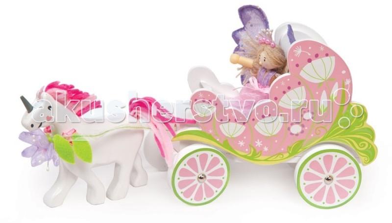 LeToyVan Игровой набор Карета с феей и единорогомИгровой набор Карета с феей и единорогомLeToyVan Игровой набор Карета с феей и единорогом.  Фантазии маленьких девочек – это сказочный мир принцесс и волшебных фей, способных творить чудеса. Куклы в длинных воздушных платьях, замки с башнями, кареты, которые увозят на бал, волшебство – вот, о чем мечтают маленькие красавицы. Чтобы исполнить мечту и сделать игры своей девочки ещё ярче и увлекательней, родители прикладывают много усилий. Что бы облегчить им задачу, интернет-магазин КуклаДом предлагает широкий ассортимент интересных игровых наборов для девочек. Все игрушки выполнены из натуральных материалов и с применением безопасных красок.  Сказочная карета, в которую запряжен волшебный единорог, это самое надежное средство передвижения по стране Фантазии. Эта карета одинаково подойдет как волшебной фее или принцессе, так и Золушке. Нежная и благородная, но в тоже время яркая и привлекательная расцветка, необыкновенно гладкие поверхности, приятные формы - всё это доставит ребенку тактильное и эстетическое удовольствие.В набор входит карета, единорог и фигурка феи. Игрушка подходит для кукол Budkins или фигурок фирмы Papo.   Сказочная Карета с феей и единорогом сказочная карета с единорогом и феей привлекательное сочетание пастельных оттенков приятные формы и гладкие поверхности натуральный материалы и безопасные краски подходит для фигурок Papo яркая подарочная упаковка.<br>