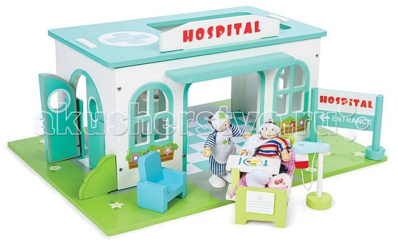 LeToyVan Игровой набор Больница с кукламиИгровой набор Больница с кукламиLeToyVan Игровой набор Больница с куклами.  Большой, яркий и очень привлекательный игровой набор станет хорошим подарком для вашего ребенка. Игрушка полностью раскрашена и стилизована под настоящую больницу. Здание стоит на большой площадке - газоне. Под окнами с внешней стороны изображены кашпо с цветами. На крыше есть вертолетная площадка и большая вывеска - HOSPITAL красными буквами. Основной цвет - белый, он используется для декорирования стен, а крыша, козырек над воротами и сами ворота - бирюзовые.  Внутри здание больницы разделено на несколько помещений. Есть парадный вход, просторный холл, который служит приемным отделением и процедурным кабинетом, современная палата. Палата оснащена специальной кроватью с постельными принадлежностями, столиком и записями истории болезни. А также голубым креслом для посетителей, капельницей, раковиной и полотенцесушителем. На стене весит больничный указатель с изображением иконок.  В больнице большие светлые окна, запасной выход, выход во внутренний двор и большие распашные двери для приема тяжело-больных пациентов, которых привозят на скорой помощи на каталке. Вертолетная площадка служит для экстренных вызовов. На видном месте находится указатель Госпиталь - вход.Ко всем помещениям здания имеется свободный доступ с разных сторон. Сверху через крышу можно руководить всеми обитателями больницы.   В комплект входят две куклы: добрая медсестра и тяжелобольной пациент. Игровой набор легко и быстро собирается, не требует специальных инструментов. Простой уход с помощью мягкой влажной тряпочки. Элементы набора изготовлены из натуральных материалов и окрашены специальными безопасными для детей красками. Упакован в подарочную коробку с переносной пластиковой ручкой.  Игровой набор Больница: красочное игровое поле в виде цветущего газона большое здание больницы похожее на настощую модель внутри здание больницы разделено на несколько помещений центральный вход, в