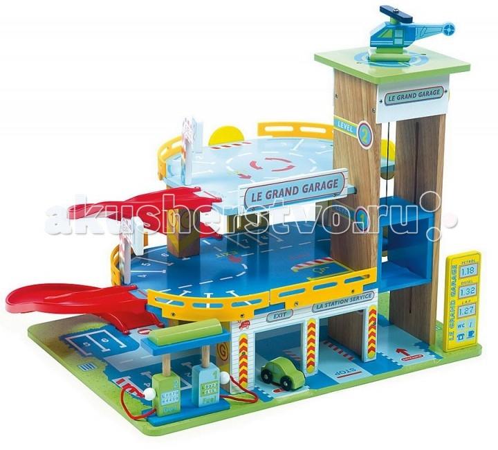 LeToyVan Набор Большой гараж с машинкой и вертолетомНабор Большой гараж с машинкой и вертолетомLeToyVan Большой гараж с машинкой и вертолетом.  Большой, яркий и очень привлекательный игровой набор станет хорошим подарком для любого мальчишки. Игрушка полностью раскрашена и стилизована под настоящий парковочный комплекс. Основные цвета это синий, голубой и зеленый. Ограждения на двух верхних ярусах желтого цвета. Есть еще красные пандусы. Они имеют плавные, округлые формы. Таким образом, сокращается количество острых углов, о которые ребенок может пораниться во время игры. Газон на нижнем ярусе и вертолетная площадка - зеленые.  Для перемещения на верхние ярусы можно использовать лифт. Он поднимается и опускается при помощи большого желтого колеса, которое находится сбоку. На въезде в гараж стоит желтый информационный щит. На нем указана стоимость бензина различных марок, а так же перечень дополнительных услуг. Есть две заправочные колонки. На всех поверхностях нанесена разметка, парковочные места, места остановок, места для инвалидов, дорожные знаки и указатели. Ко всем помещениям здания имеется свободный доступ. В комплект входит зеленая машинка и вертолет.  Любимое развлечение всех мальчишек - это машинки. Они могут катать их где угодно, воображая себя супер гонщиками. А имея такую замечательную игрушку - яркую, приятную на ощупь, устойчивую и надежную, ребенок сможет развить и дополнить свои игры новыми сюжетами. И кроме того, все железные кони обретут наконец свое законное место в перерывах между играми и не будут возникать под ногами у мам и пап в самое не подходящее время.  Конструкция гаража легко и быстро собирается, не требует специальных инструментов, можно протирать мягкой влажной тряпочкой. Все материалы и краски, которые использовались при производстве игрового набора Большой гараж, безопасны для детей. Набор упакован в подарочную коробку с переносной пластиковой ручкой.  Гаражный комплекс включает в себя: трехуровневую парковку лифт деревянную машинку 