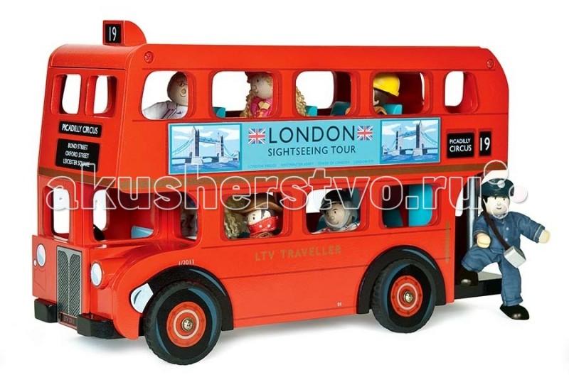 Деревянная игрушка LeToyVan Лондонский автобус с водителемЛондонский автобус с водителемLeToyVan Лондонский автобус с водителем.  Огромный и необыкновенно красивый двухэтажный Лондонский автобус станет прекрасным выбор для мальчика.  Автобус сделан как настоящая копия - ярко красный цвет, номер маршрута, надписи на автобусе и реклама. Съемная крыша автобуса открывает доступ в пространство второго этажа.   В набор включена фигурка водителя, также автобус может поместить до 11 подобных фигурок кукол.Игрушечный автобус упакован в специальную подарочную коробку с открытым окном и яркими иллюстрациями.   Игровая машинка Лондонский автобус с водителем: ярко красный цвет съемная крыша автобуса ткрытый доступ на второй этаж в набор входит фигурка забавная фигурка водителя в автобус можно поместить до 11 пассажиров подарочная упаковка.<br>