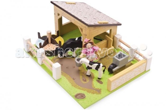 LeToyVan Игровой набор Коровник с коровами и фермершейИгровой набор Коровник с коровами и фермершейLeToyVan Игровой набор Коровник с коровами и фермершей.  Игровой набор, состоящий из множества интересных элементов, которые можно передвигать и менять местами, получая каждый раз новую игрушку и игру. Кроме того, элементы из набора можно использовать по отдельности и сочетать с наборами других производителей.  Ферма с животными и фермершей - это 1/4 часть большого набора, который производитель предлагает собрать, чтобы получилось игровое поле со множеством фермерских строений, животных и жителей фермы. Набор придуман таким образом, что состоит из 4 независящих друг от друга частей отдельных игровых наборов, в каждой из которых происходит своя игра и свое действо. Каждый набор упакован по отдельности в фирменную коробку с иллюстрациями.  Можно купить один набор одну часть и получить полноценную игрушку или приобрести две, три или все четыре части и сформировать большой комплект. Четыре одинакового размера части, но с разными строениями, животными и темой игры, придвигаются друг к другу, образуя единое игровое зеленое поле и получается Большая многофункциональная ферма.  Ферма с фигурками животных и фермершей состоит из игрового поля размером 340x145x265, которое выглядит как зеленый газон в перемешку с дерном. Основное место занимает большой коровник со съемной плоской крышей. В коровнике проживает большая пятнистая коровка с теленком. С внешей стороны коровника установлена навесное корыто для воды. Интересным атрибутом игры является многосекционная круглая вращающася кормушка с разным типом корма для животных и тележка на одном колесе.  Ферму огараживает изородь разного типа. Хозяйка на ферме - очаровательная фермерша в платье в стиле кантри и шляпке с цветком. В руках у нее есть ведро.  Насыщенные естественные цвета, высококачественная обработка деталей, гладкая поверхность игрушек, высокие стандарты безопасности и качества. Детская ферма упакована в красивую подароч
