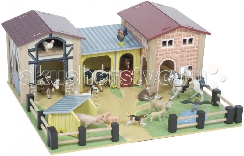 LeToyVan Игровой набор ФермаИгровой набор ФермаLeToyVan Ферма.  Эта сюжетно-ролевая игра не только увлекательна для ребенка, но и очень полезна и занимательна. Она дает представление об особенностях быта фермера, о животных, которые там обитают. Деревянная ферма для детей поможет малышу развить координацию и ловкость, мелкую моторику и цветовое восприятие. Придумывая новые сюжеты и примеряя на себя различные роли, ребенок адаптируется в социальном плане, учится общаться и вести тематические диалоги. Яркая и интересная детская игрушка Ферма стимулирует умение малыша фантазировать и формирует творческое мышление.  Описание и характеристики В игровой набор Ферма, купить который можно на нашем сайте, входит: большое игровое поле, разрисованное как настоящий фермерский двор домик фермера с окошками и красной крышей хозяйственные постройки: коровник, конюшня, свинарник, амбар невысокий заборчик набор упакован в красивую коробку с удобной для переноски ручкой. Фигурки людей и животных в комплект не входят. Эти забавные игрушки, которые могут стать обитателями фермы, также можно купить в нашем магазине.  Игровой набор Ферма Большое игровое поле размером 58 х 52 см с хозяйственными постройками и забором. Амбар с высоким сеновалом Дом фермера Коровник со стойлом для лошади Открытый свинарник Ферма огорожена забором Высота домиков не более 24 см Фигурки животных и людей продаются отдельно.<br>