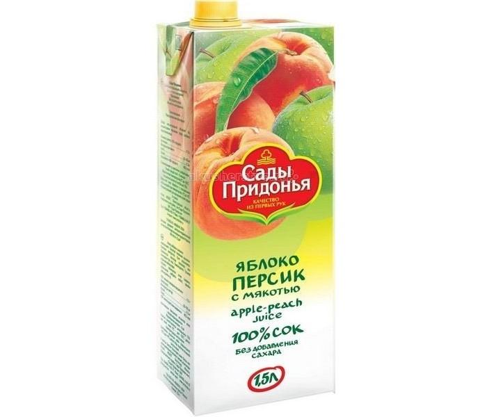 Соки и напитки Сады Придонья Сок Яблоко и персик с мякотью с 3 лет 1.5 л пюре сады придонья яблоко и персик с 5 месяцев