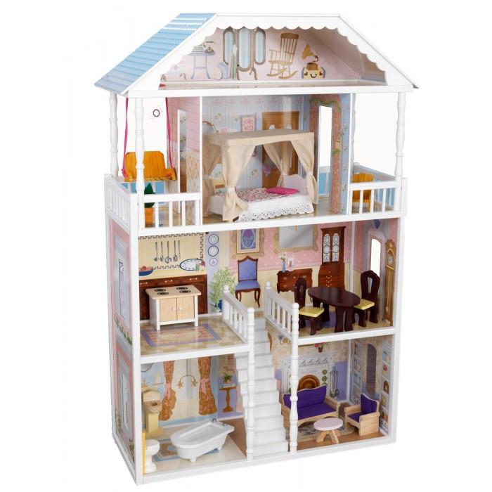 KidKraft Кукольный домик Саванна с мебелью 14 элементовКукольный домик Саванна с мебелью 14 элементовКукольный домик KidKraft Саванна с мебелью 14 элементов.  Большой деревянный кукольный домик для Барби Саванна производства американской компании KidKraft – мечта каждой маленькой девочки. Что может быть интересней и полезней для малышки, чем такая сюжетно-ролевая игра, в которой она, подражая своей маме, заботливо ухаживает за куклами и обустраивает их быт. Это увлекательное занятие развивает чувство ответственности, фантазию и творческое мышление, помогает ребенку почувствовать себя взрослым и самостоятельным. Описание и характеристики  Белоснежный снаружи и декорированный внутри в приятных нежно-пастельных тонах домик для Барби Саванна практически полностью имитирует настоящую домашнюю обстановку. Он выполнен в викторианском классическом стиле, не имеет внешней передней стены и полностью просматривается: состоит из четырех этажей, на которых расположены 6 комнат и 2 открытые веранды полностью укомплектован игрушечной мебелью, необходимой для проживания большой кукольной семьи подходит для игры всеми современными куклами высотой до 30 см, такими как Братц, Винкс и Барби размеры домика позволяют, чтобы с ним одновременно играли несколько детей изготовлен из натурального дерева. Вам стоит купить эту чудесную игрушку и восторгу Вашей маленькой принцессы не будет предела. Цена кукольного домика соответствует его превосходному качеству. Белоснежный домик сделан в классическом викторианском стиле, внутри разукрашен под настоящий интерьер с элементами декора и включает много элементов кукольной мебели для кукол высотой 30 см куклы Winx, Barbie, Bratz.  В домике 4 этажа и 6 комнат 14 элементов кукольной мебели Большие окна, через которые видно все пространство домика 6 закрытых комнат и 2 открытые веранды Домик настолько большой, что в него могут играть одновременно несколько девочек Домик подходит для всех современных кукол высотой 30 см.<br>