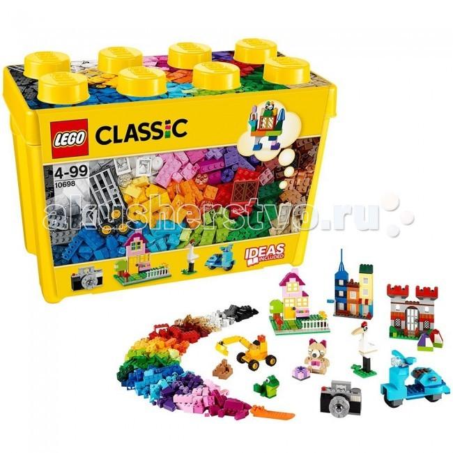 Конструктор Lego Classic 10698 Лего Классик Набор для творчества большого размераClassic 10698 Лего Классик Набор для творчества большого размераКонструктор Lego Classic 10698 Лего Классик Набор для творчества большого размера  Включайте воображение и окунитесь в мир фантазий с набором кубиков LEGO®! Бесконечные возможности для сборки из классических кубиков 33 разных цветов и специальных деталей: двери, окна, колеса, глаза, пропеллеры и отделитель кубиков.   Если вы не знаете, с чего начать, вам помогут инструкции с идеями дизайнеров, от которых можно оттолкнуться. Это идеальный набор для начинающих строителей всех возрастов. Он также дополнит любую имеющуюся коллекцию LEGO. Набор упакован в удобную пластиковую коробку.  Возможность собрать то, что придумал сам! 33 цветов деталей и различные элементы. Инструкции дизайнеров для оригинальных конструкций. Возможность дополнить любую имеющуюся коллекцию LEGO.  Количество деталей: 790 шт.<br>