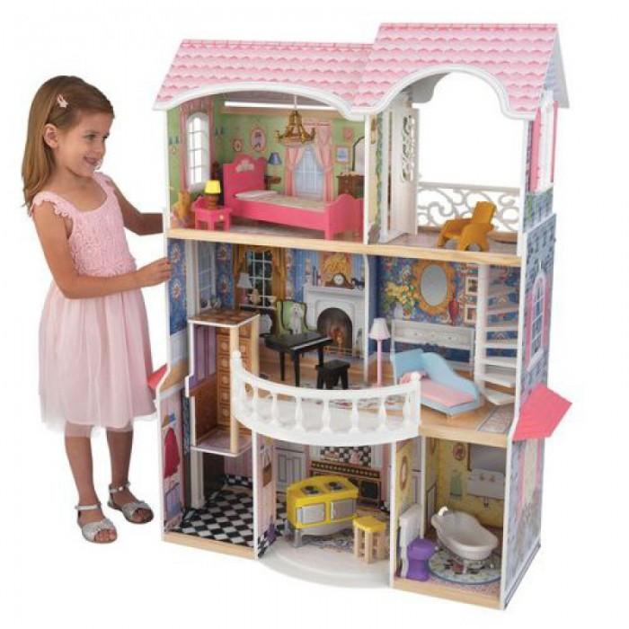 KidKraft Кукольный домик Магнолия с мебелью 13 элементовКукольный домик Магнолия с мебелью 13 элементовКукольный домик KidKraft Магнолия, с мебелью 13 элементов.  Дом подходит для кукол высотой 30 см куклы Monster High, Winx, Barbie, Bratz. Домик выполнен в нежных тонах, оснащен всем необходимым для игры и такой большой, что в него могут играть сразу несколько девочек. Трехэтажный дом включает три комнаты, ванную, кухню, прихожую, скользящий лифт, белую винтовую лестницу и большой полукруглый балкон. На третьем этаже есть большая терраса, в отделке которой используются ажурные элементы - вставка в двери и ограждениях. Крыша розовая, двухуровневая. На окнах большие ставни. Часть интерьеров в комнатах тщательно прорисованы. В комплект входят 13 элементов мебели.  Отличительной особенностью этого дома является то, что некоторые предметы интерьера оснащены дополнительными функциями: при нажатии на кнопку унитаза он издает звук; при нажатии на лампу - загорается свет; пианино то же звучит!  Самостоятельная сборка по инструкции 13 красочных предметов мебели Нежные цвета, которые не утомляют глаз Три этажа  Белая винтовая лестница Полукруглый балкон Лифт Большие окна со ставнями Большая терраса на третьем этаже Домик настолько большой, что в него могут играть одновременно несколько девочек Домик подходит для всех современных кукол высотой 30 см Домик сделан из дерева Упакован в картонную коробку с подробными инструкциями по сборке.<br>