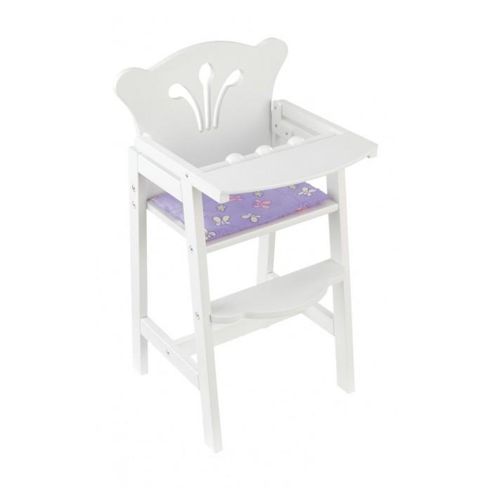KidKraft Кукольный стул для кормленияКукольный стул для кормленияKidKraft Мебель для кукол Стул для кормления.  Удобный высокий стул, чтобы накормить куклу завтраком, обедом и ужином. Белоснежный стульчик KidKraft сделан из дерева. Фигурное обрамление и декоративная отделка. У стульчика есть широкий столик для игрушечной посуды, подставка для ног и мягкая подушечка лавандового цвета. Столик поднимается наверх.  Стул подходит для игры с куклами до 48 см высотой. Надежная и долговечная игрушка упакована в коробку с подробной инструкцией для сборки. стул для кормления для кукол до 48 см высотой широкий столик и подставка для ног мягкая подушечка в комплекте сделан из дерева фигурное обрамление и декоративная отделка подробная инструкция по сборке.<br>