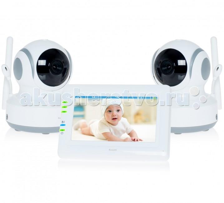 Ramili Видеоняня Baby RV900X2Видеоняня Baby RV900X2Видеоняня Ramili Baby RV900X2 представляет из себя надежное и безопасное устройство для удаленного наблюдения за ребенком, которое обеспечивает стабильную и приватную цифровую связь. Кроме основных характеристик, обеспечивающих стабильный мониторинг, видеоняня оснащена набором дополнительных функций, которые создают особенный комфорт родителям и безопасность для малыша.  Видеоняня оснащена системой активации при обнаружении плача (VOX) с настройкой чувствительности, которая позволяет экономить заряд аккумулятора и которую можно отключить для непрерывного мониторинга. Также в видеоняню Ramili встроен «умный» детектор движения, благодаря которому камера, отслеживая движение ребенка, автоматически поворачивается вслед за ним. Так что ваш малыш точно не выйдет из кадра.  Особенности: Две камеры в комплекте (два детских блока) Дальность приёма до 300 метров Дисплей 11 см (4,3 дюйма) Двухсторонняя связь Удаленное управление поворотом камеры Активация при обнаружении плача (VOX) с настройкой чувствительности и оповещением Возможен непрерывный мониторинг Световая индикация громкости плача Детектор движения Автоматический поворот камеры за передвижением ребенка Сенсорный экран Ночное видение Система защиты от помех Система преодоления преград Защищенная связь (100% приватность) Цифровой зум Колыбельные мелодии Таймер кормления Термометр измеряет температуру воздуха в детской, значение отображается на экране родительского блока Регулировка яркости экрана Подключение до 4 камер Автоматическое или ручное переключение между камерами Ёмкий аккумулятор внутри родительского блока Оповещение о низком заряде аккумулятора Оповещение о выходе из зоны приёма Возможно крепление на стене любого блока<br>