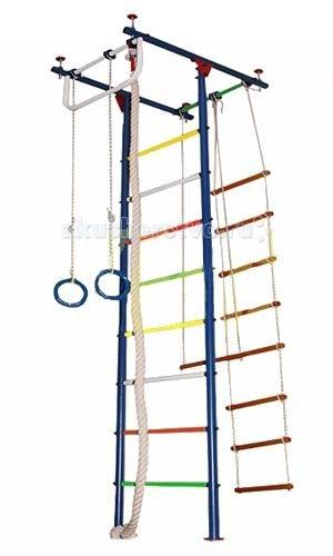 Вертикаль Детский спортивный комплекс Юнга 2МДетский спортивный комплекс Юнга 2МДСК Вертикаль - это лучшее решение вопроса организации досуга ребёнка! Вы не только простимулируете интерес малыша к физкультуре, но и предоставили ему безбрежный простор для фантазий и выдумок, реализации потаённых детских желаний. В любую, самую ненастную и дождливую, погоду Ваше ненаглядное чадо сможет занять себя делом.   Необузданная детская энергия найдёт выход на спортивных нарядах: малыш и подросток будут с одинаковым удовольствием лазать, как маленькая мартышка, по канатам и веревочной лестнице, разминаться и растягиваться, развивать мышцы тела и рук, ловкость, выносливость и силу всего тела.   Допустимая нагрузка практически на все металлические ДСК достигает 100 кг. Металлические ДСК имеют привлекательный внешний вид.   Для домашних комплексов рекомендуем подобрать дополнительно спортивный мат, который позволит защитить Вашего ребенка от ушибов и ссадин.  Крепление: враспор между полом и потолком Высота комплекса: от 2.35 до 3.00 м Занимаемая площадь: 0.57 х 0.87 м Допустимая нагрузка: 90 кг  Комплектация: турник, канат, кольца, трапеция<br>