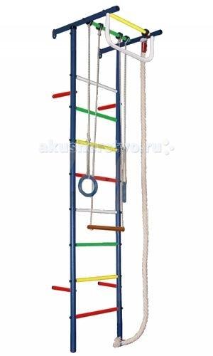 Вертикаль Детский спортивный комплекс Юнга 3МДетский спортивный комплекс Юнга 3МДСК Вертикаль - это лучшее решение вопроса организации досуга ребёнка! Вы не только простимулируете интерес малыша к физкультуре, но и предоставили ему безбрежный простор для фантазий и выдумок, реализации потаённых детских желаний. В любую, самую ненастную и дождливую, погоду Ваше ненаглядное чадо сможет занять себя делом.   Необузданная детская энергия найдёт выход на спортивных нарядах: малыш и подросток будут с одинаковым удовольствием лазать, как маленькая мартышка, по канатам и веревочной лестнице, разминаться и растягиваться, развивать мышцы тела и рук, ловкость, выносливость и силу всего тела.   Допустимая нагрузка практически на все металлические ДСК достигает 100 кг. Металлические ДСК имеют привлекательный внешний вид.   Для домашних комплексов рекомендуем подобрать дополнительно спортивный мат, который позволит защитить Вашего ребенка от ушибов и ссадин.  Крепление: к стене Высота комплекса: 2.30 м Занимаемая площадь: 0.57 х 0.65 м Допустимая нагрузка: 90 кг Комплектация: турник, канат, кольца, трапеция<br>