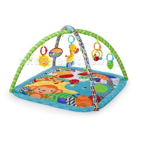 Развивающий коврик Bright Starts Веселый жирафВеселый жирафРазвивающий коврик Bright Starts Веселый жираф разработан для развития всех чувств ребёнка первого года жизни! Высококонтрастные элементы для развития зрения малыша.  Особенности: Яркие элементы для развития зрения малыша Большое безопасное зеркальце 4 игрушки: плюшевый жираф - проигрывает 4 мелодии; листочек-прорезыватель; спиралька с бусинами и яркое солнышко погремушка  Игрушки легко крепятся к переноске, коляске Дополнительные петли для крепления игрушек Можно стирать в стиральной машине Удобное хранение и переноска коврика  В комплекте: коврик 2 дуги безопасное зеркальце 4 игрушки<br>