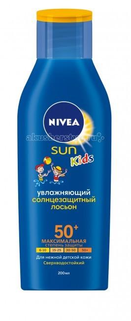 Солнцезащитные средства Nivea Лосьон солнцезащитный 50+, 200мл nivea лосьон солнцезащитный освежающий spf 50 nivea 200 мл