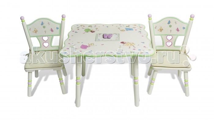 Major-Kids Комплект из стола и двух стульев БалетКомплект из стола и двух стульев БалетУникальный дизайн комплекта мебели Балет в нежно-пастельных тонах с изящными, расписанными вручную балеринами, бабочками, сердечками и цветочками!  Эта мебель создаст неповторимую атмосферу волшебства в детской комнате маленьких девочек! Кажется, что еще недавно балерины танцевали на сцене театра, а сегодня они парят вокруг цветов и бабочек, репетируя новый танец для следующего выступления!   Ваша девочка сможет танцевать под знаменитую мелодию из «Лебединого озера» П.И. Чайковского или самостоятельно режиссировать выступление игрушечных балерин!  В центре стола находится функциональная музыкальная шкатулка (для любимых драгоценностей и маленьких девичьих секретиков), проигрывающая мелодию из «Лебединого Озера», на крышке которой располагается танцующая грациозная бабочка!  • В комплект входит стол и 2 стула  • Комплект выполнен в нежно-пастельных тонах  • Ручная роспись балерин, бабочек, сердечек, цветочков  • В центре стола находится функциональная музыкальная шкатулка для хранения милых сердцу драгоценностей, проигрывающая мелодию из «Лебединого Озера» П.И. Чайковского.  • Подушки из высококачественного бархата на стулья  • Каждый комплект содержит великолепный набор: 4 балерины и бабочка  Материалы: Дерево, МДФ  Стол: высота: 51 см; ширина: 71 см; длина: 71 см  Стул: высота 66 см; высота сиденья 28.5 см<br>