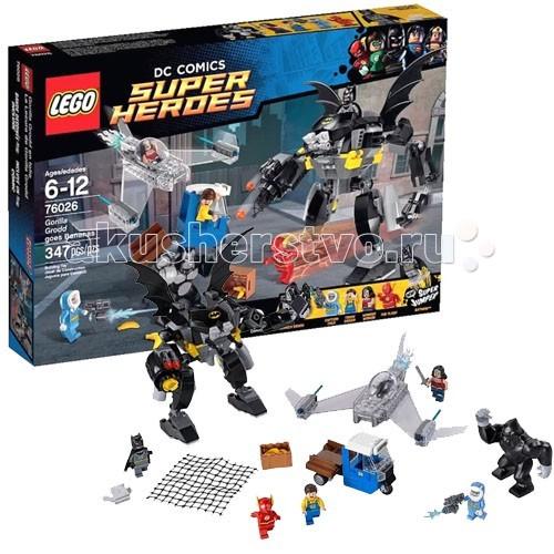 Конструктор Lego Super Heroes 76026 Лего Супер Герои Горилла Гродд сходит с умаSuper Heroes 76026 Лего Супер Герои Горилла Гродд сходит с умаКонструктор Lego Super Heroes 76026 Лего Супер Герои Горилла Гродд сходит с ума  Конструктор Lego Super Heroes собирается из 347 деталей, включает 5 минифигурок и фигурка гориллы.  Горилла Гродд – суперзлодей и один из главных врагов Флеша. Он обладает сверхвысоким интеллектом и даром телепатии. Гродд может читать мысли и подчиняться разум других живых существ своей воле.  В этом наборе справиться с супергероями Гродду помогает Капитан Холод – еще один суперзлодей и противник Флеша. Он не обладает суперспособностями, но у него есть мощное замораживающее оружие и развитые инстинкты.  В комплект входит грузовик, который перевозит бананы. Управляет им усатый водитель, а сами фрукты находятся в ящике в прицепе.  Невидимый Самолет Чудо-Женщины выполнен из прозрачных деталей. Из двигателей сзади вырываются сгустки синего пламени. На крыльях расположены мощные ракетницы с функцией стрельбы.  В битве с суперзлодеями Бэтмен использует огромного Бэт-робота. У него подвижные конечности, крылья, детали брони, орудия. Сверху находится место для пилота. На груди робота пропечатан знак в виде летучей мыши. К рукам робота прикреплены орудия-бластеры. Они выстреливаются небольшими снарядами – нужно только нажать кнопку! На правой руке расположена большая пушка – при нажатии, выстреливает прочной сетью. Именно так можно поймать Гродда!  В комплекте 5 минифигурок – Флеш, Бэтмен, Чудо-Женщина, Капитан Холод, водитель грузовика Фигурка горилла Гродда – суперзлодея Все минифигурки с «двойным» лицом Минифигурка Бэтмена снабжена тканевым плащем Деталь для прыжка – поместите минифигурку Бэтмена и запустите ее! Грузовик с прицепом для перевозки бананов Невидимый Самолет выполнен из прозрачных деталей Самолет оборудован двумя ракетницами с функцией стрельбы Огромный Бэт-робот Подвижные конечности, детали брони, крылья, оружие Оснащен орудиями-бластерами 