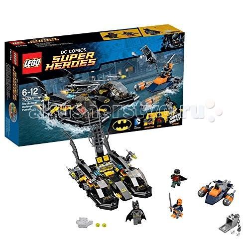 Конструктор Lego Super Heroes 76034 Лего Супер Герои Погоня в бухте на БэткатереSuper Heroes 76034 Лего Супер Герои Погоня в бухте на БэткатереКонструктор Lego Super Heroes 76034 Лего Супер Герои Погоня в бухте на Бэткатере  Этот набор из серии Lego Super Heroes® собирается из 264 деталей и включает 3 минифигурки.  Злодей Дезстроук похитил из банка бриллианты на кругленькую сумму и пытается скрыться на своём скутере. Бэтмен и Робин дежурят на своей лодке в гавани Готэма. С помощью современной радарной установки они запеленговали злодея и бросились в погоню.  Уклоняйся от ракет Дезстроука, используй пружинные пушки и ракеты, чтобы повредить его скутер, а когда преследование будет подходить к концу — отстыкуй лодки на воздушной подушке и верни драгоценности владельцам.  Дезстроук (Deathstroke) — один из заклятых врагов Бэтмена и Робина — получил свои способности после армейского эксперимента, превратившего его в сверхчеловека. Его мозг превращен в компьютер, просчитывающий сильные и слабые стороны противника, он обладает повышенной физической силой, регенерацией, иммунитетом и выносливостью. Его броня покрыта прометиумом и непробиваема для обычного оружия.  В набор входят 3 минифигурки: Бэтмен, Робин, Дезстроук От лодки отстыковываются 2 судна на воздушной подушке Лодка вооружена пружинными пушками и ракетами<br>