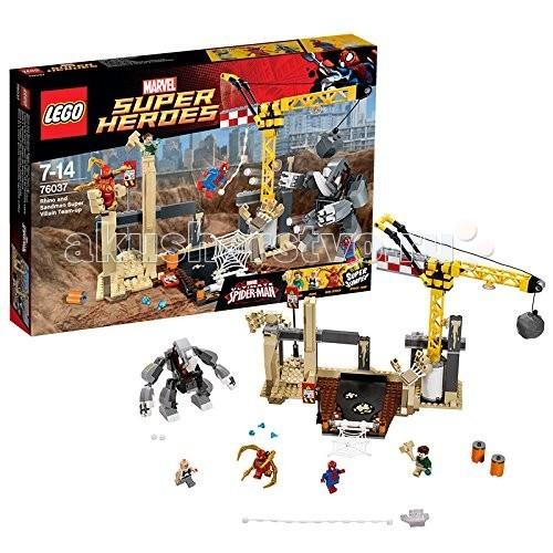 Конструктор Lego Super Heroes 76037 Лего Супер Герои Носорог и Песочный человек против СупергероевSuper Heroes 76037 Лего Супер Герои Носорог и Песочный человек против СупергероевКонструктор Lego Super Heroes 76037 Лего Супер Герои Носорог и Песочный человек против Супергероев  Известная серия Супер Герои от компании LEGO® из 386 деталей.   Масштабное сражение Человека-Паука с Песочным человеком и Носорогом! В данном наборе помимо привычного костюма Человека-Паука присутствует, разработанный Тони Старком - так называемый Техно. Костюм с огромными паучьими лапами, благодаря которым Питер Паркер имеет возможность совершать манипуляции на расстоянии! Два его заклятых врага обосновались на стройке, расставив ловушки в виде рук из песка. Проберись в логово, не попав ни в одну из ловушек, с помощью невероятной прыгучести! Замани Носорога под кран и опрокинь на него груз с помощью специального рычага - после такого удара он не скоро оправится! Поймай Песочного человека, установив свою ловушку в виде паутины!  В комплекте 4 минифигурки с аксессуарами: Человек-Паук в классическом костюме, Человек-Паук в костюме Техно, Рино и Песочный человек.<br>
