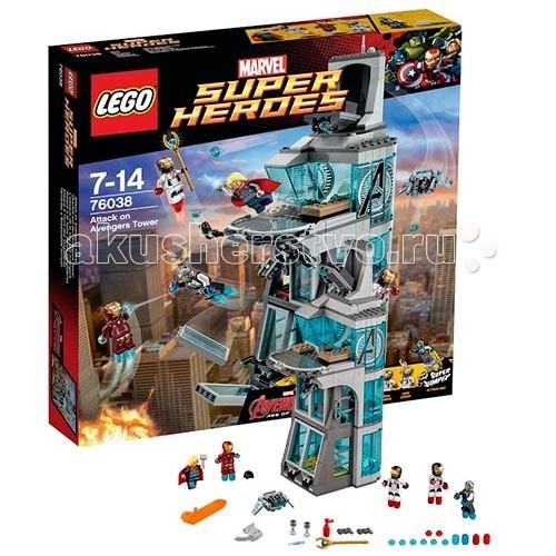 Конструктор Lego Super Heroes 76038 Лего Супер Герои Нападение на башню МстителейSuper Heroes 76038 Лего Супер Герои Нападение на башню МстителейКонструктор Lego Super Heroes 76038 Лего Супер Герои Нападение на башню Мстителей  Конструктор Lego Super Heroes собирается из 511 деталей, включает 5 минифигурок.  Альтрон собрал себя в лаборатории башни Мстителей и напал на героев! Он подчинил себе других роботов, создав Железный Легион. В этом наборе 2 минифигурки этих роботов, созданных из костюмов Тони Старка. Сюжет набора основан на фильме «Мстители: Эра Альтрона».  Башня Мстителей состоит из множества прозрачных деталей, имитирующих стекло. Вверху находится пентхаус с открытой площадкой и балконом – именно там проходит вечеринка. Башня с двух сторон украшена логотипом Мстителей (наклейки). Стены здания раскрываются, давая доступ к интерьеру.  На первом этаже находится хранилище костюмов. Боксы закрыты большими выдвигающимися стеклами – когда Альтрон захватывает управление, роботы вылетают из своих камер, ломая их.   Рядом расположен медпункт, куда можно транспортировать раненых героев. Здесь есть кушетка, капельница, шприц, тумба с выдвигающимися ящиками и монитор, на котором показывается состояние пациента (наклейка).  На втором этаже расположена лаборатория, в которой держали Альтрона. Она оснащена вращающейся платформой, двумя подвижными лазерами и окружена барьером. Чтобы выбраться, нужно нажать на рычаги - панорамные окна выпадут и злодей окажется на свободе. В соседней комнате хранится посох Локи – он закреплен на специальной подставке. Рядом находится подвижный монитор с его изображением (наклейка).  На самом верху находится роскошный пентхаус. Здесь стоят два дивана, один из которых с секретом – нужно приподнять часть сиденья, чтобы найти тайник с пистолетом. Рядом с пентхаусом расположена комната управления с компьютером ДЖАРВИСом. Он состоит из трех прозрачных сенсорных панелей, которые можно передвигать по желанию. На крыше есть секретный ангар, внутри кот