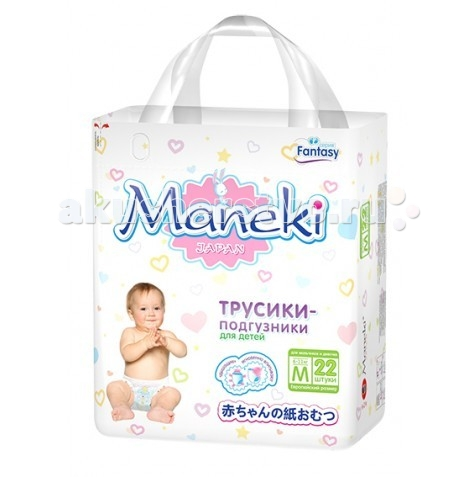 Подгузники Maneki Подгузники-трусики Fantasy M (6-11 кг) 22 шт. maneki mini m 6 11 22