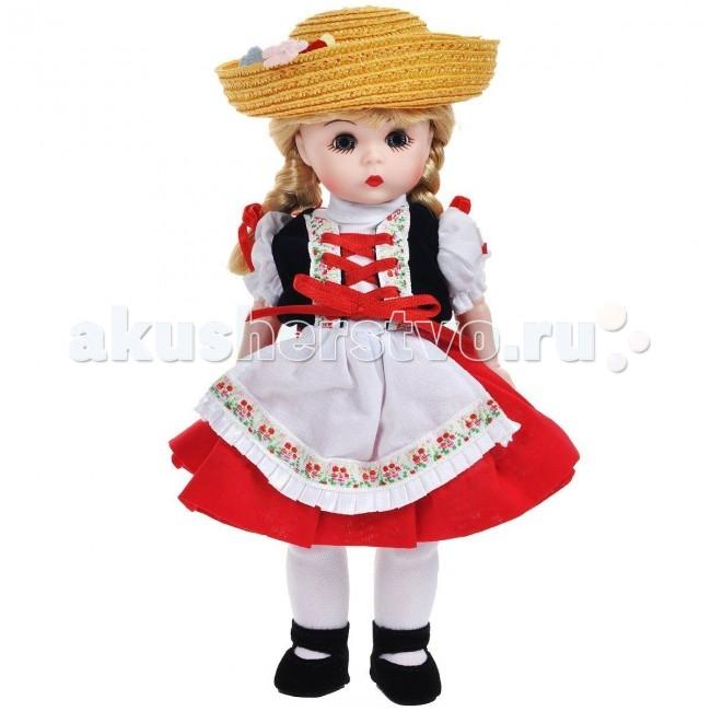 Madame Alexander Кукла Хейди 20 смКукла Хейди 20 смКукла Madame Alexander Хейди станет прекрасным украшением любой коллекции.   Хейди - голубоглазая блондинка с двумя косами, перевязанными красными ленточками, одета в костюм в национальном швейцарском стиле, состоящий из белой блузки, жилетки, красной юбочки с белым кружевным подъюбником и белого передника. На ее ножках - белые колготы и черные бархатистые туфельки с ремешками. Соломенная шляпа с загнутыми полями, украшенная цветами, дополняет образ.   Кукла 20 см. Выполнена из высококачественного винила. Глазки из стекла, закрываются. Ручки и ножки двигаются. Тончайшая проработка черт лица. Многослойная одежда, разработанная известными дизайнерами, выполнена из качественных натуральных тканей.   Более 90 лет назад Беатрис Александер Берман, дочь русского эмигранта, преобразовала мастерскую своего отца и основала компанию Madamе Alexander по производству кукол. Сегодня бренд Мадам Александер - всемирно известная марка, под которой создаются игровые и коллекционные виниловые куклы, достойные восхищения.<br>