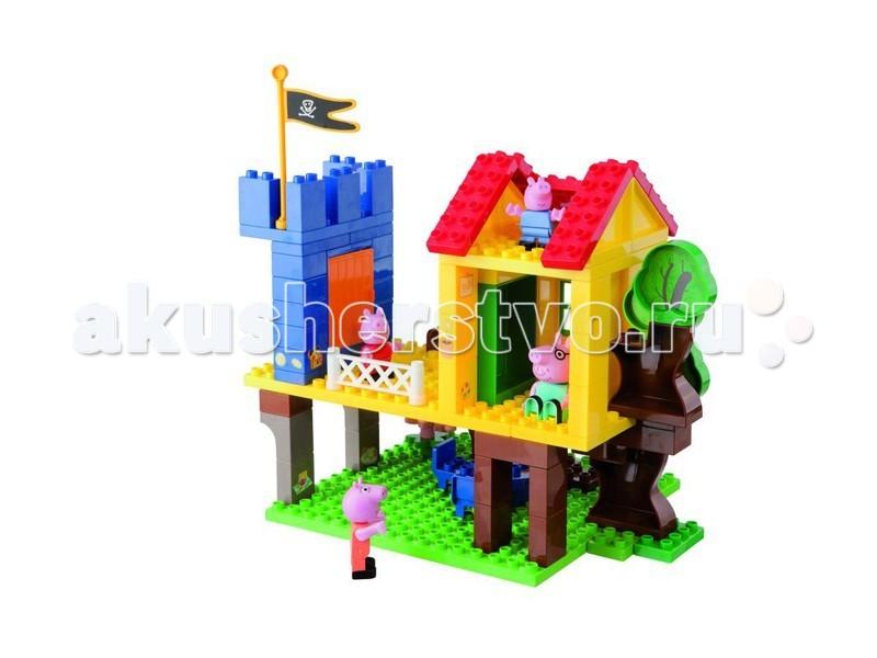 Конструктор BIG Peppa Pig Дом на дереве 94 деталиPeppa Pig Дом на дереве 94 деталиКонструктор BIG Дом на дереве Peppa Pig помогает детям проявить фантазию, принять участие в первых сюжетно-ролевых играх, построить домик на дереве для свинки Пеппа и ее семьи.    Особенности:    Пластиковые детали конструктора яркие и прочные, ребенок не может пораниться.   Дом Пеппы расположен на дереве, игровая площадка и домик соединяются лестницей, есть мансарда, балкон и летняя кухня.   Предметы мебели предлагают ребенку самостоятельно обустроить интерьер дома на дереве Peppa Pig.   4 минифигурки персонажей из мультика «Свинка Пеппа» обогащают игровой процесс и дают возможность поселить жителей в обустроенный домик.<br>