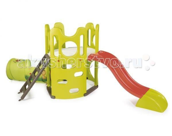 Smoby Игровой комплекс ПриключенияИгровой комплекс ПриключенияИгровой комплекс Smoby Приключения состоит из 4 частей: башенки, матерчатого туннеля, горки и лесенки.   По бокам башенка имеет отверстия, за которые удобно ухватиться руками и опереться ногами, чтобы подняться на платформу. Туннель сделан из легкостирающегося материала.  Длина ската горки составляет 150см. Материал морозоустойчив с анти-ультрафиолетовым покрытием;  Размеры – 305х158х120см<br>