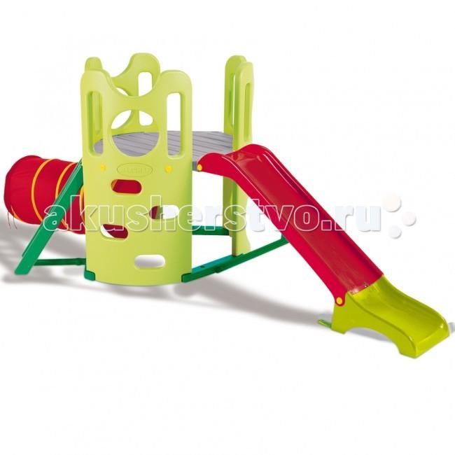Smoby Спортивно-игровой комплекс БашняСпортивно-игровой комплекс БашняСпортивно-игровой комплекс Smoby Башня - это замечательный спортивный комплекс, предназначенный для активных игр. Дети могут лазить по горке, проползать по туннелю и скатиться с горки. Спортивные игры помогают детям развиваться. По словам представителей Smoby - это самый безопасный комплекс для детей. А в сочетании с красивым и ярким дизайном, это становится просто незаменимой игрушкой не только в каждом доме, но и на каждой даче.  Состоит из 4 частей: матерчатого туннеля, горки, двух лесенок   Особенности:    Одна лесенка обычная со ступеньками, а вторая сделана прямо в стенке игрового комплекса  Лесенка имеет овальные отверстия, за которые можно цепляться руками и опираться ногами  По обеим лесенкам можно подняться на достаточно большую площадку, откуда можно скатиться с горки, а можно играть в царя горы, дозорного на башне или принцессу, заточенную в башне злой колдуньей  Под площадкой можно устроить детям песочницу или игровой домик. Туннель сделан из материала, который можно стирать  Материал: упрочненная пластмасса, текстиль, металл.   Размеры:  общий – 306х153х120 см высота до площадки - 70 см, длина желоба горки - 160 см<br>