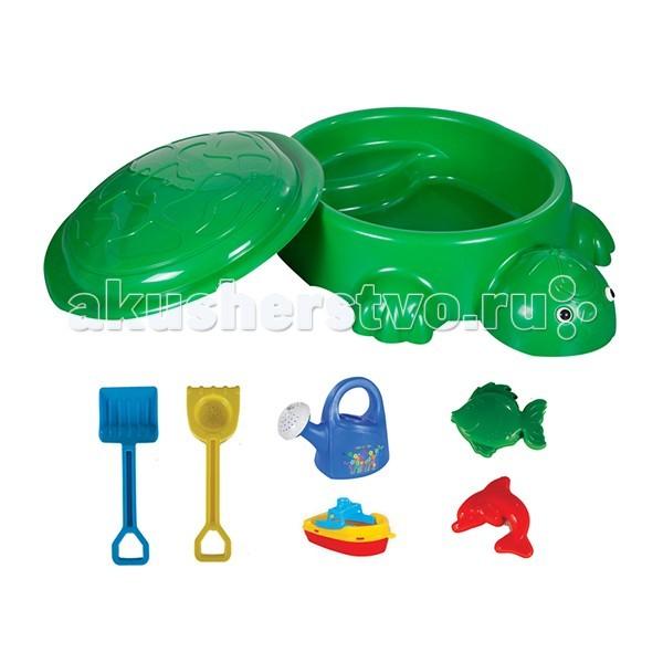 Pilsan Песочница Черепаха с крышкой и игрушкамиПесочница Черепаха с крышкой и игрушкамиPilsan Песочница Черепаха с крышкой и игрушками - выполнена в виде черепахи с фигурными лапками и головой, может быть наполнена и водой, и песком.   Песочница легко и компактно складывается, достаточно лишь закрыть крышку-панцирь Черепашки, к тому же она занимает очень мало места.   Если Вы оставите песок или воду в песочнице, крышка поможет сохранить содержимое в чистоте.   Песочница-бассейн Черепашка - небольшая конструкция и вы с легкостью можете установить ее в помещении, на свежем воздухе - возле дома, в саду, на пляже или в любом другом месте. Можно применять не только на улице, но и в помещении, а в качестве наполнителя использовать не песок, а пластиковые шары. Получится настоящий сухой бассейн. Этот вариант подойдет как дома, так и для игровых комнат в детских садах и для организации детских уголков в торговых предприятиях.   Песочница-бассейн отвечает европейским требованиям безопасности. Изготовлена из упрочненного пластика, который выдерживает морозы до -25 градусов и не выгорает на солнце. Острые углы и грани отсутствуют.   В комплекте: песочница  крышка  лейка кораблик грабли - длина 42 см лопата - длина 42 см 2 формочки.<br>