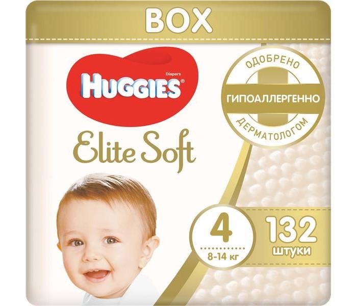 Huggies Подгузники Elite Soft 4 (8-14 кг) 132 шт.Подгузники Elite Soft 4 (8-14 кг) 132 шт.Подгузники Elite Soft содержат 100% натуральный хлопок.  Супер-мягкий слой (без подушечек) обеспечит малышу максимальный комфорт.  Единственный подгузник со впитывающими мягкими подушечками.  Для защиты и заботы о коже малыша.  Преимущества: Впитывающие каналы уменьшают набухание и провисание подгузника Специальный внутренний кармашек помогает предотвратить протекание Мягкие экстра-эластичные поясок и застежки для отличной посадки Пористые материалы позволяют коже дышать Индикатор влаги подскажет, когда придет время сменить подгузник Дизайн от Disney© с Винни-Пухом  Наш самый мягкий подгузник внутри и снаружи!  Подгузники Huggies Elite Soft (Хаггис Элит Софт) содержат «дышащие» материалы, не вызывают опрелостей и раздражения, не натирают, моментально впитывают влагу, помогая сохранить кожу сухой, застежки-липучки удобно застегиваются. Подходят для мальчиков и девочек.  Упаковка бокс - запас на месяц!  Рекомендуется менять подгузник каждые 3 часа для лучшей заботы о Вашем малыше.<br>