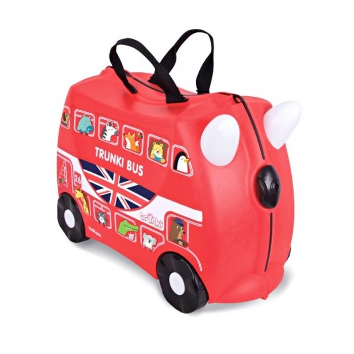 Trunki Чемодан на колесах АвтобусЧемодан на колесах АвтобусДетский чемодан Trunki Автобус - сделан из прочного легкого пластика, что позволяет не только брать его с собой в путешествие, но даже кататься на нем!   Чемодан Автобус станет прекрасным игровым спутником каждого ребенка. Чемодан выполнен в ярком красном цвете. У чемоданчика есть забавные красные ручки в виде рожек, для того, чтобы ребенок мог держаться во время катания. Удобная прочная ручка из текстиля позволяет родителям возить чемодан или катать ребенка.   В комплекте с чемоданом есть комплект наклеек, с помощью которых малыш сможет рассадить забавных красочных животных в окошки автобуса, изображенные на корпусе чемодана. Таким образом, чемодан станет не только полезным и функциональным аксессуаром, но и интересным творческим набором.   Особенности чемодана Trunki Автобус:    Прочный легкий корпус с удобным сидением, Широкие устойчивые колеса для перемещения и катания, Прорезиненный мягкий обод вдоль отделений чемодана, Надежный безопасный замок защищает от случайного раскрытия, Специальный ремень с прочными карабинами позволяет легко перемещать чемодан и катать ребенка, Ручки из пластика на корпусе чемодана позволяют ребенку держаться при перемещении.  Чемоданы Trunki были созданы в Англии для того, чтобы малыши не скучали во время путешествий. В удобный вместительный чемодан можно заполнить необходимыми вещами, книгами и, конечно же, любимыми игрушками. Широкие устойчивые колеса позволяют не только перемещать чемодан, но и даже покататься на нем. Теперь при ожидании при регистрации или ожидании рейса вашему ребенку точно не будет скучно.   Вместительность: 18 литров.  Вес чемодана: 1,7 кг.  Максимальный вес нагрузки: 45 кг.<br>
