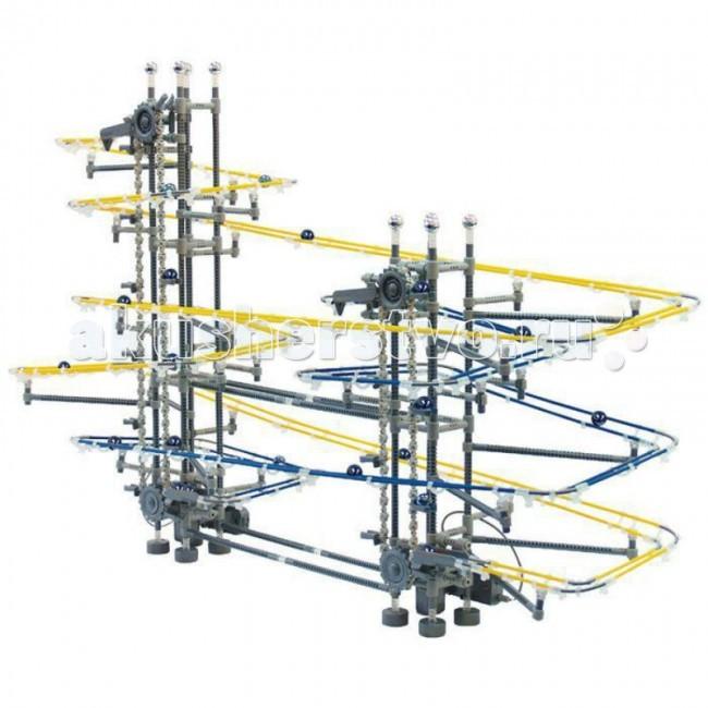 Конструктор Executivity Spring Bend Twin Tower 920 деталейSpring Bend Twin Tower 920 деталейКонструктор Executivity Spring Bend Twin Tower 920 деталей - отличная игрушка нового поколения для всех возрастов, который позволяют собрать удивительную динамическую конструкцию, заставляющую несколько шариков двигаться без остановки.   В состав конструкции - входит лебедка, поднимающая шарики вверх, и рельсы, по которым шарики скатываются вниз. Рельсы можно соединять как угодно, отклоняясь от инструкции и создавая собственную индивидуальную модель.  Собирая такой конструктор, не обязательно пользоваться инструкцией. Дав волю фантазии, из шпал и металлических тросов Вы сможете соорудить свой собственный неповторимый аттракцион. Ваш ребенок, собирая его вместе с Вами или один, научится сосредотачиваться, усвоит несколько законов физики, разовьет пространственное и последовательное логическое мышление.  В наборе: 920 деталей, включая 12 шариков размер собранной конструкции: 90 х 20 х 70 см размер деталей: от 1.5 см до 16 см диаметр шариков: 1.5 см размер коробки: 50 х 8 х 45 см конструктор работает от 2-х батареек АА.<br>