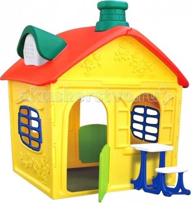 BabyOne Игровой домик Ching-Ching ОТ-16Игровой домик Ching-Ching ОТ-16Игровой домик BabyOne ОТ-16 - это сказочный дом для вашего малыша. В нем он сможет развиваться, уединяться с игрушками или друзьями, разыгрывать спектакли. Домик, о котором мечтают все дети, он оригинальный и достаточно просторный для того, чтобы пригласить в гости друзей. Малыш безусловно оценит возможность иметь свое собственное очаровательное жилище. Произведен с соблюдением европейского стандарта качества. Стимулирует малыша к активным действиям и движению, развивает воображение. Украсит любую дачу или детскую комнату и станет любимым местом для игр Вашего ребенка.  Особенности: предназначен для детей от 2 до 7 лет в комплекте пластиковый столик с лавочкой соответствует европейским стандартам безопасности оригинальный яркий дизайн очень уютный идеально подходит для игры на даче, на улице, дома конструкция очень устойчивая, прочная, не имеет острых углов легко собирается и разбирается легко содержать в чистоте, так как может подвергаться влажной обработке  Материал - высокопрочный морозостойкий пластик, экологически безопасный и устойчивый к ультрафиолетовому излучению. Размер: 163 х 130 х 170 см Занимаемая площадь: 1.40 х 1.35 м<br>