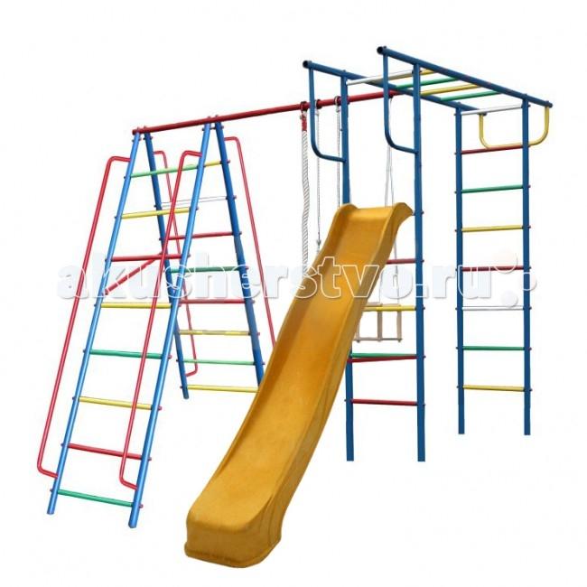 Вертикаль А1+П Детский спортивный комплекс с горкойА1+П Детский спортивный комплекс с горкойЕсли вы хотите быть спокойны за своих деток, уделяете внимание их физическому развитию, то приобретая им на радость детский спортивный комплекс для улицы и дачи, вы тем самым делаете инвестиции в их здоровье. Установленный в вашем дворе или на даче детский спортивный комплекс , сочетающий в себе элементы игры и спорта, станет излюбленным местом для весёлых игр и соревнований детворы. Играя в своё удовольствие на свежем воздухе, дети развиваются физически.   Изготавливаются детские уличные спортивные комплексы из экологичных материалов, при их производстве используется нержавеющая сталь, они устойчивы к атмосферным осадкам и перепадам температуры и рассчитаны на длительную эксплуатацию. Все модели детских спортивных комплексов для улицы и дачи сертифицированы и безопасны.   Шикарный дачный спортивный комплекс, оснащенный кольцами, канатами, качелями и горкой. Такой комплекс развлечет Ваших детей и позволит всегда оставаться в отличной спортивной форме.  Крепление: цементируются «стаканы», в которые устанавливаются стойки ДСК Высота дачного комплекса: 2.20 м Занимаемая площадь: 2.30 х 2.40 м Допустимая нагрузка: 90 кг Комплектация дачного комплекса: канат, кольца, качели, горка 3м<br>