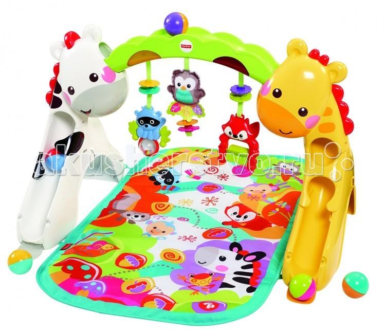 Игровой центр Fisher Price Mattel Растем вместе CCB70 3 в 1Mattel Растем вместе CCB70 3 в 1Игровой центр 3 в 1 Растем вместе – это развивающая игрушка, которая оснащена 3 режимами использования (лежа, сидя, стоя) и насчитывает более 12 игрушек.  Включив музыкальный режим, малыш услышит не только интересные звуки, но и мелодии.  Одновременно с музыкой развлекать вашего ребенка будут разноцветные огоньки.Игровой комплекс прост в уходе и долговечен - его мягкий коврик предназначен для многократной машинной стирки.   Музыка играет до 20 минут!  Мягкий коврик подходит для машинной стирки.   Режим 1: лежа на коврике, младенец играется подвесными игрушками и активирует звуковые и световые эффекты. Режим 2: игровой центр трансформируется для игры сидя – задняя часть коврика состоит, открывая дополнительные возможности для игры. Режим 3: стоя, малыш складывает шарики в верхнюю часть игрового центра и наблюдает, как шарики весело скатываются с горок.   Возраст: от 1 лет Комплект: коврик, игровая панель, 5 шариков,  Наличие батареек: не входят в комплект. Тип батареек: 3 х ААА / LR03 1.5V (мизинчиковые). Из чего сделана игрушка (состав): высококачественный пластик. Размер коробки (длн-шрн-вст): 42.9 х 66.5 х 10.9 см. Вес: 2.8 кг. Упаковка: картонная коробка.<br>