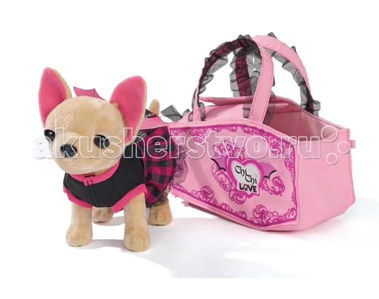 Мягкая игрушка Chi-Chi Love собачка Чихуахуа Вампирчиксобачка Чихуахуа ВампирчикПлюшевая собачка Chi-Chi Love Вампирчик в платье с крылышками, в сумочке  Маленькая принцесса будет рада иметь такую милую мягкую игрушку, которая одета в стильный наряд.    Особенности:    Плюшевая собачка чихуахуа одета в карнавальный костюм с крыльями, словно она настоящий вампир.   Лапки у собачки можно сгибать.   Для переноски игрушки предназначена стильная розовая сумочка.   В набор кроме щенка, костюма и сумочки входит игрушка для щенка, выполненная в виде летучей мыши.    Размер игрушки: 20 см<br>