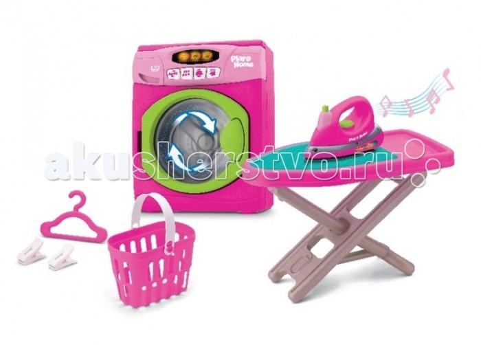 Keenway Игровой набор ПрачечнаяИгровой набор ПрачечнаяKeenway Игровой набор Прачечная   Включает в себя стиральную машинку, гладильную доску, утюг, корзину для белья. Машинка полностью имитирует процесс стирки, туда можно загружать кукольную одежду, барабан крутится, имеет 2 режима. Утюг с настоящим распылителем воды.<br>