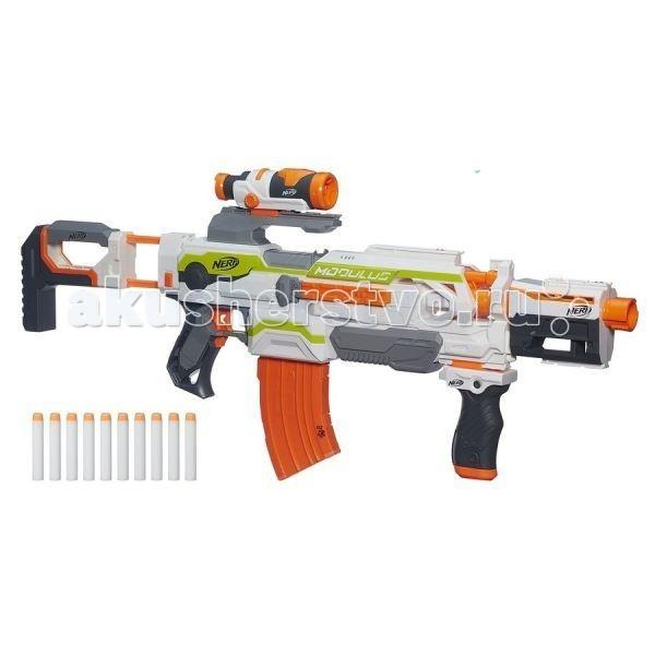 Nerf Hasbro Модулус БластерHasbro Модулус БластерЭто не просто детское оружие для увлекательной перестрелки, а еще и бластер с возможностью усовершенствования, и апгрейда. Юный нерфер сможет подобрать для себя необходимые аксессуары и дополнить ими это уникальное игровое оружие.   Бластер – автоматический, поэтому для начала стрельбы необходимо лишь нажать на спусковой крючок, пред этим тщательно разглядев цель для поражения через оптический прицел.   Детская игра в войнушку теперь превратится в увлекательное сражение, а сам стрелок научится меткости и разовьёт координацию своих движений.  Особенности: В комплекте вместе с бластером предусмотрены 10 стрел, прицел, приклад и инструкция. Состоит из нескольких функциональных модулей Бластер полностью оснащен автоматическим механизмом. Дальность полета стрелы – 28 метров. Предусмотрена возможность усовершенствовать игрушечное оружие, приобретя дополнительные аксессуары. Для удобства во время стрельбы есть оптический прицел и подставка-упор. Набор изготовлен из высококачественного пластика, нетоксичного и безопасного для детского здоровья.  Питание: 4 батарейки АА (не входят в комплект).<br>