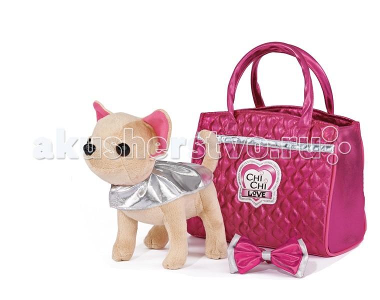 Мягкая игрушка Chi-Chi Love собачка Чихуахуа Гламурсобачка Чихуахуа ГламурПлюшевая собачка Chi-Chi Love Гламур с розовой сумочкой и бантом  Маленькая принцесса будет рада иметь такую милую мягкую игрушку, которая одета в стильный наряд.    Особенности:    Лапки у собачки можно сгибать  Для переноски игрушки предназначена стильная сумочка  В набор кроме щенка - симпатичный бантик и накидка<br>