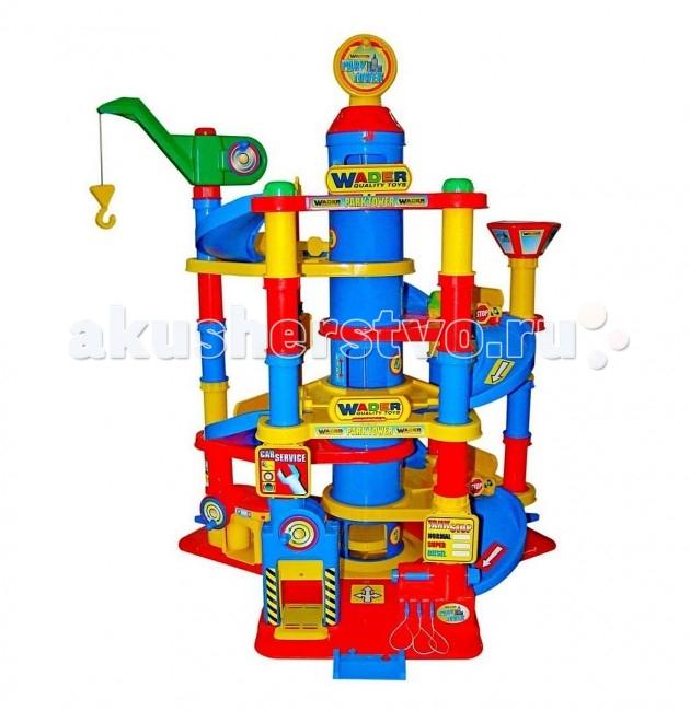 Wader Паркинг 7-уровневый с автомобилями 37848Паркинг 7-уровневый с автомобилями 37848Wader Паркинг 7-уровневый с автомобилями, может стать прекрасным подарком для любого ребенка.  Особенности: Развивает у детей логику, моторику и интерес к моделированию различных ситуаций, а также станет местом где дети и родители играют вместе.  В сочетании с дорожными знаками, заправкой, грузовиками, самолетиками, трапом для самолета можно создать полноценный городок который станет любимым местом игры для вашего ребенка!  Для подъема или спуска на этаж установлен башенный кран на верху парковки, а также можно использовать лифт или серпантинную дорогу.  В нижней части Паркинга установлены: автомойка, автосервис, смотровая яма, бензоколонка.  В комплект входит: башенный кран, серпантинные лестницы, здание паркинга, знаки, заправка, мойка, автомастерская, лифт и 3 машинки, дорожные коммуникации и пр.<br>